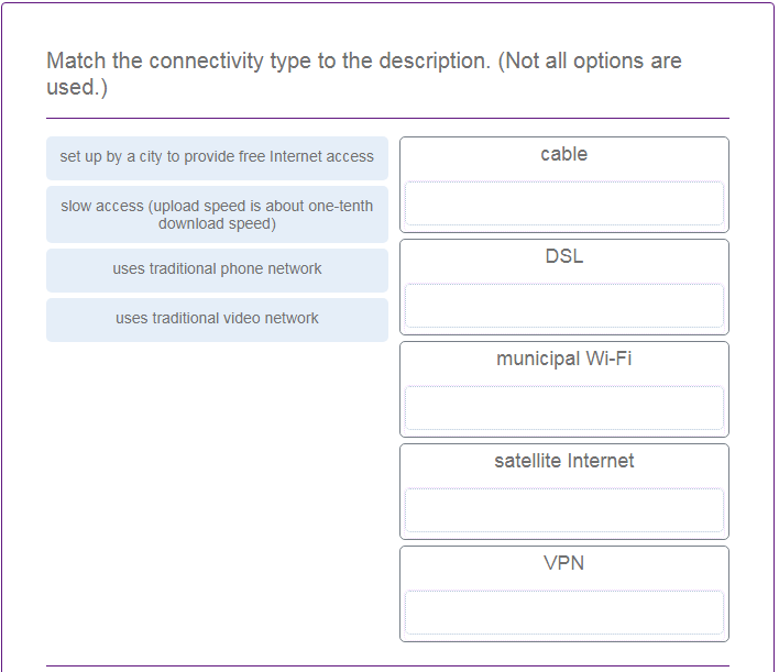Match the connectivity type to the description. (Not all options are used.) 2