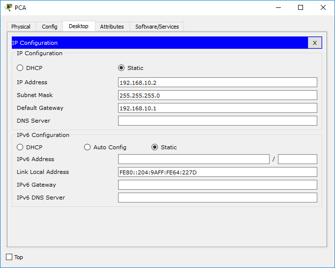 Configure IP address in PCA
