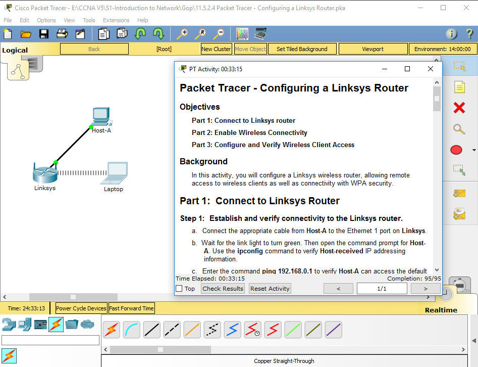 11.5.2.4 Packet Tracer - Configuring a Linksys Router Instructions Answers 2