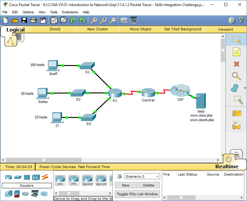 11.4.1.2 Packet Tracer - Skills Integration Challenge Instructions Answers 7