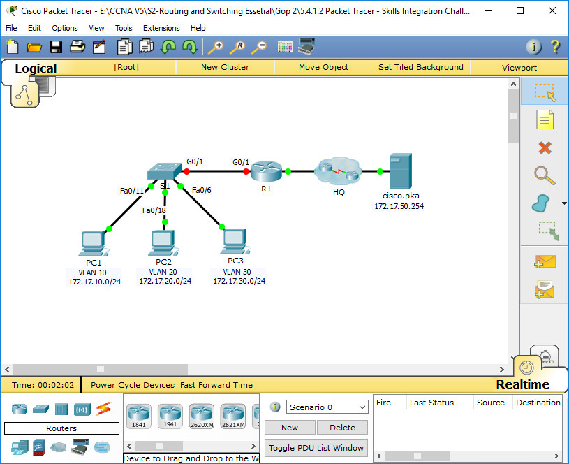 5.4.1.2 Packet Tracer - Skills Integration Challenge Instructions Answers 1