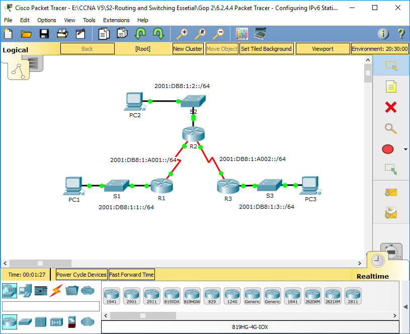 2.2.4.4 Packet Tracer - Configuring IPv6 Static and Default Routes Instructions Answers 1