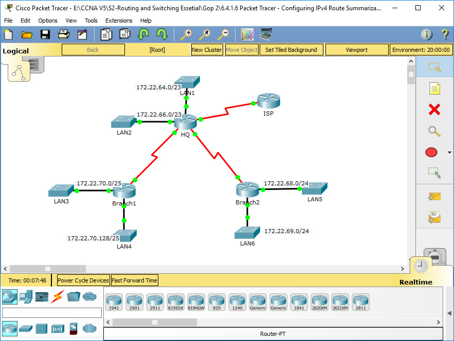 6.4.1.6 Packet Tracer - Configuring IPv4 Route Summarization - Scenario 2 Instructions Answers 3