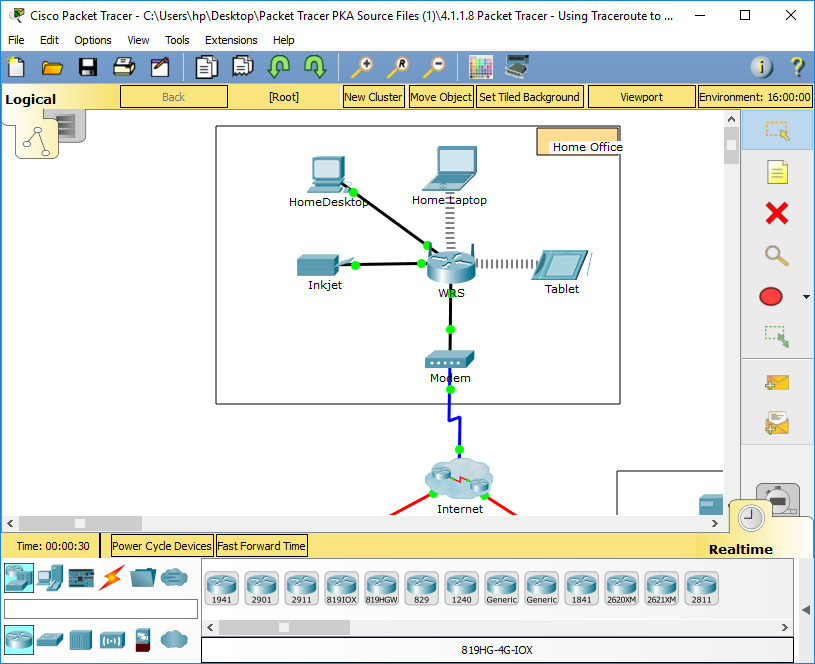 1.1.1.8 Packet Tracer - Using Traceroute to Discover the Network Instructions Answers 1