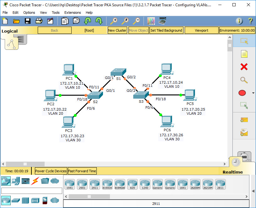 6.2.1.7 Packet Tracer - Configuring VLANs Instructions Answers 1