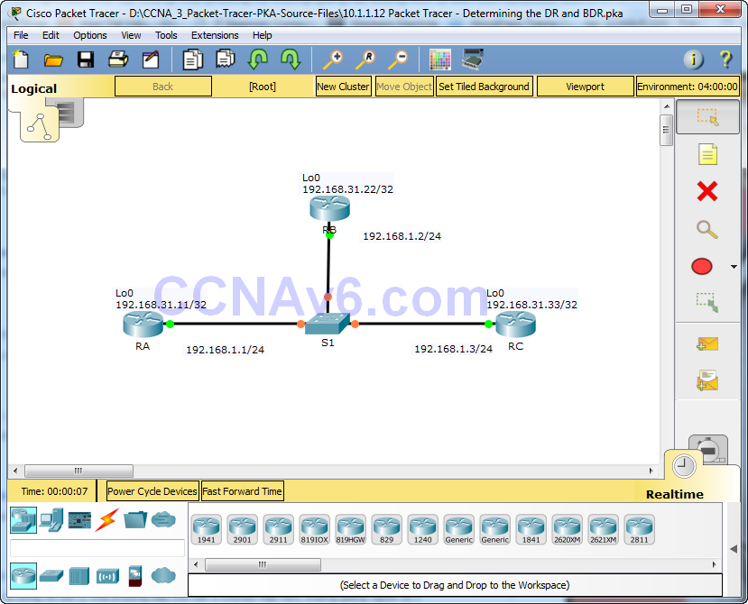 10.1.1.12 Packet Tracer - Determining the DR and BDR Instructions Answers 20