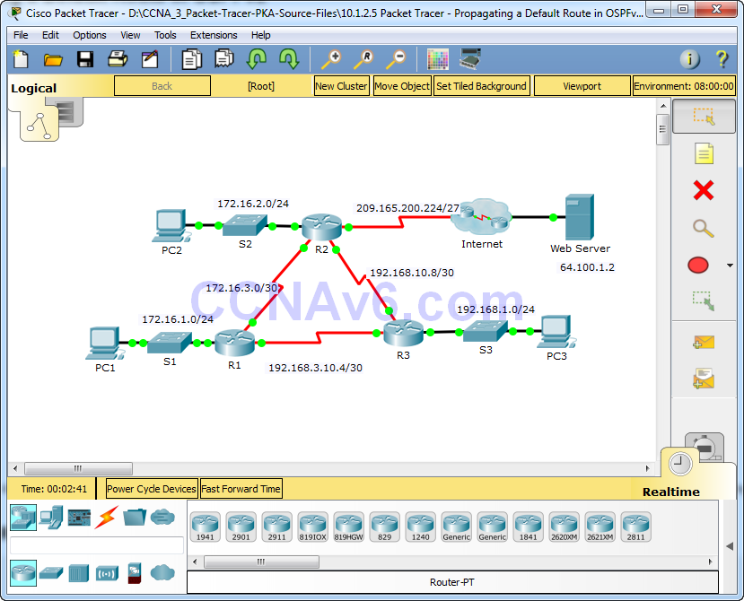 10.1.2.5 Packet Tracer - Propagating a Default Route in OSPFv2 Instructions Answers 17