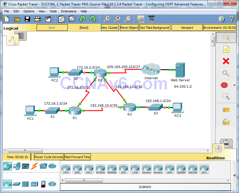 10.1.3.4 Packet Tracer - Configuring OSPF Advanced Features Answers 14