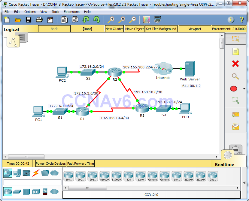 10.2.2.3 Packet Tracer - Troubleshooting Single-Area OSPFv2 Instructions Answers 10