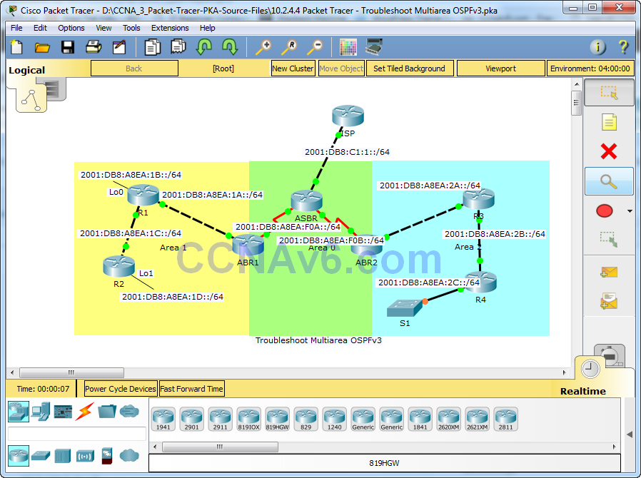 10.2.4.4 Packet Tracer - Troubleshoot Multiarea OSPFv3 Answers 4