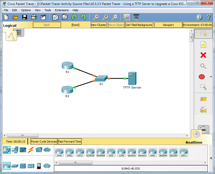 10.3.3.5 Packet Tracer - Using a TFTP Server to Upgrade a Cisco IOS Image Instructions Answers 5