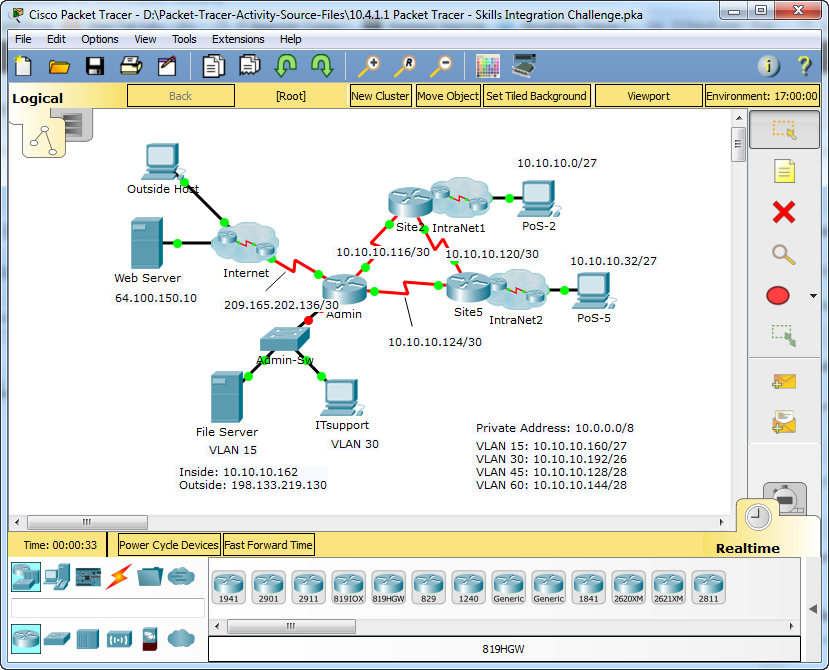 10.4.1.1 Packet Tracer - Skills Integration Challenge Answers 3