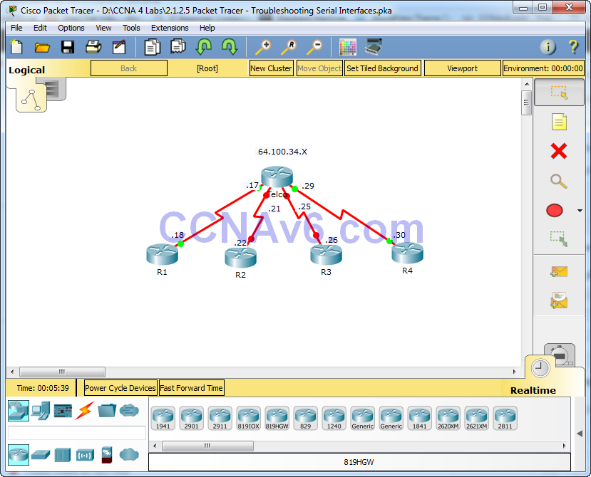 2.1.2.5 Packet Tracer - Troubleshooting Serial Interfaces Answers 1