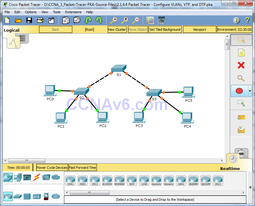 2.1.4.4 Packet Tracer - Configure VLANs, VTP, and DTP Answers 1