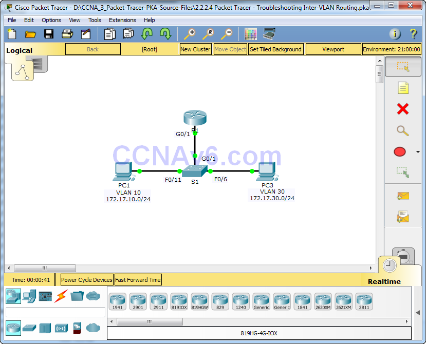 2.2.2.4 Packet Tracer - Troubleshooting Inter-VLAN Routing Answers 1