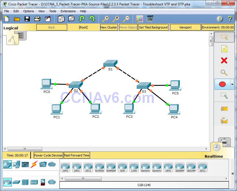 2.2.3.3 Packet Tracer - Troubleshoot VTP and DTP Answers 1
