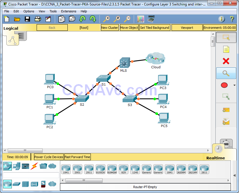 2.3.1.5 Packet Tracer - Configure Layer 3 Switching and inter-VLAN Routing Answers 1