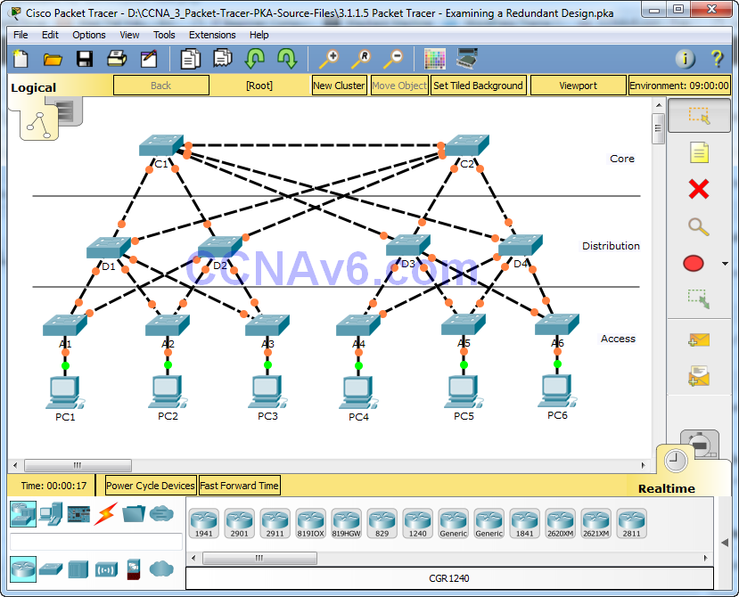 3.1.1.5 Packet Tracer - Examining a Redundant Design Instructions Answers 1