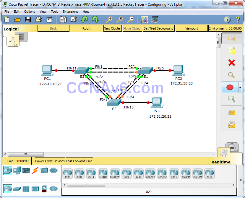 3.3.1.5 Packet Tracer - Configuring PVST Instructions Answers 1