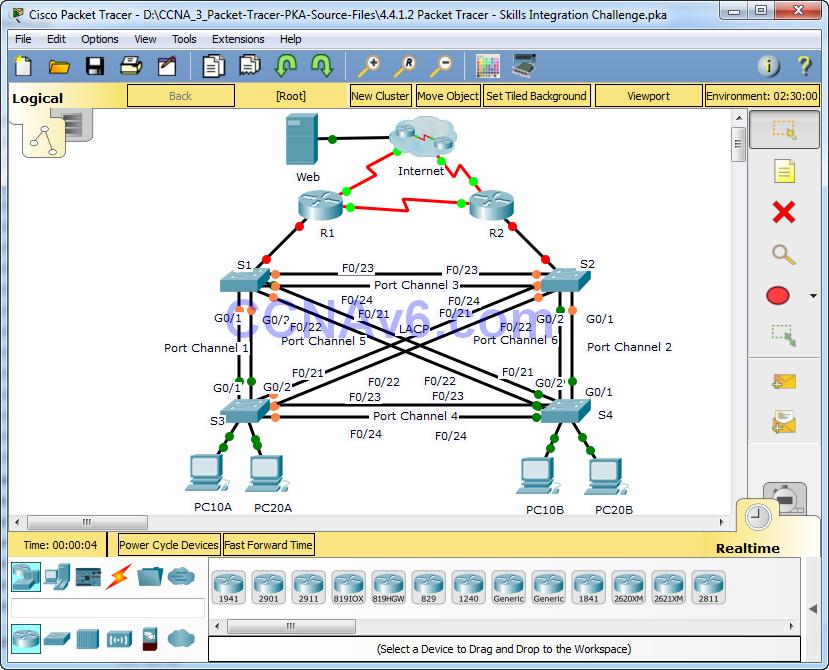 4.4.1.2 Packet Tracer - Skills Integration Challenge Answers 1
