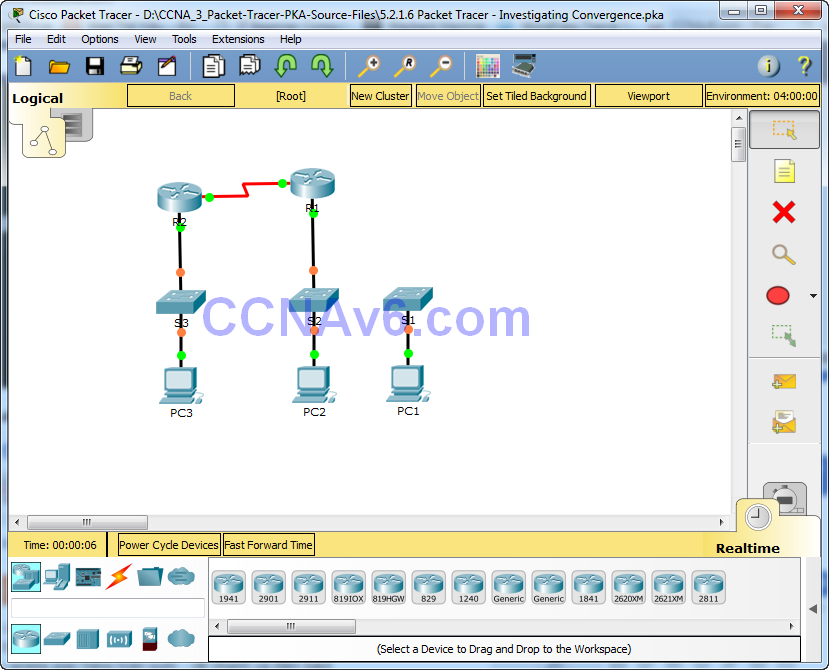 5.2.1.6 Packet Tracer - Investigating Convergence Instructions Answers 1