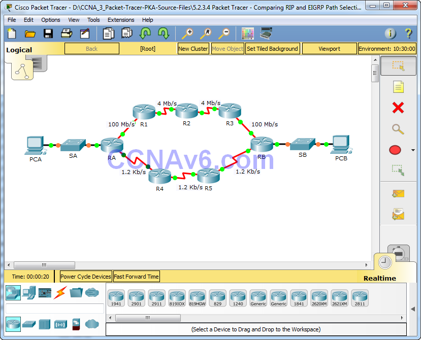 5.2.3.4 Packet Tracer - Comparing RIP and EIGRP Path Selection Instructions Answers 1
