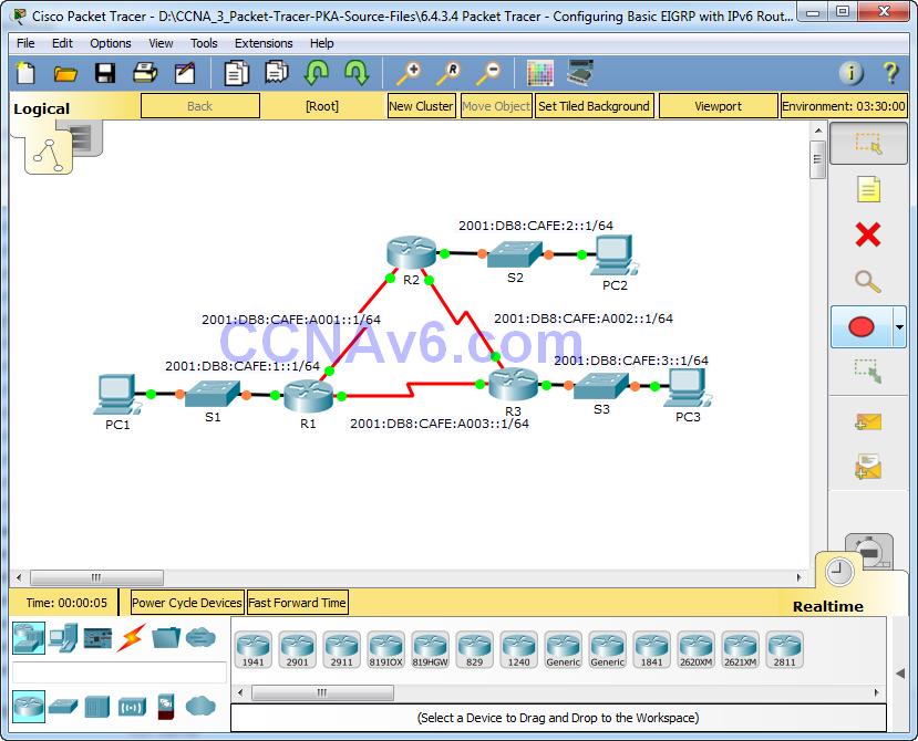 6.4.3.4 Packet Tracer - Configuring Basic EIGRP with IPv6 Routing Instructions Answers 1