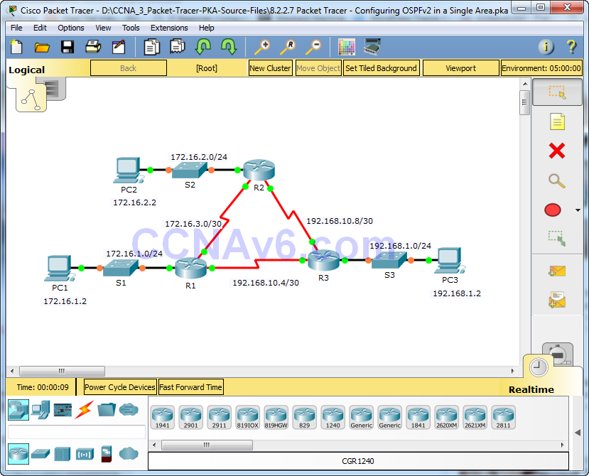 8.2.2.7 Packet Tracer - Configuring OSPFv2 in a Single Area Instructions Answers 1