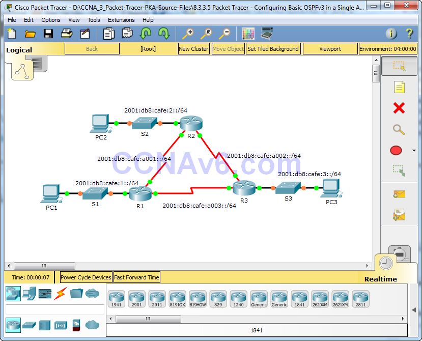 8.3.3.5 Packet Tracer - Configuring Basic OSPFv3 in a Single Area Instructions Answers 1