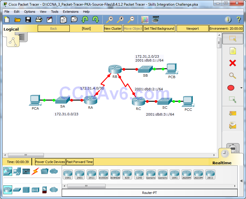 CCNA 3 - 8.4.1.2 Packet Tracer - Skills Integration Challenge - Instructions Answers 30