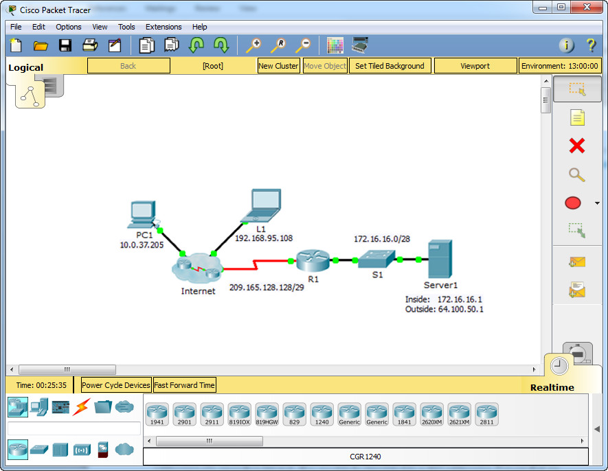 9.2.1.4 Packet Tracer - Configuring Static NAT Instructions Answers 2