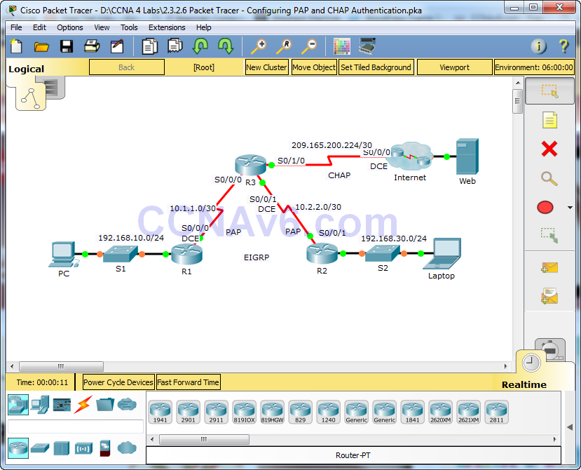 2.3.2.6 Packet Tracer - Configuring PAP and CHAP Authentication Answers 1