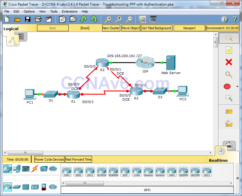 2.4.1.4 Packet Tracer - Troubleshooting PPP with Authentication Answers 1