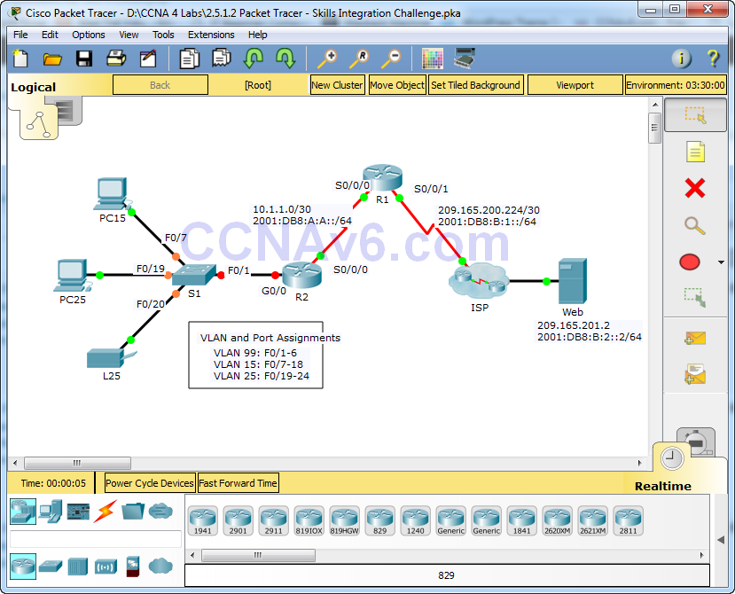 2.5.1.2 Packet Tracer - Skills Integration Challenge Answers 1