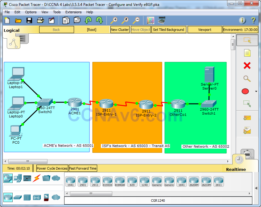 3.5.3.4 Packet Tracer - Configure and Verify eBGP Answers 1
