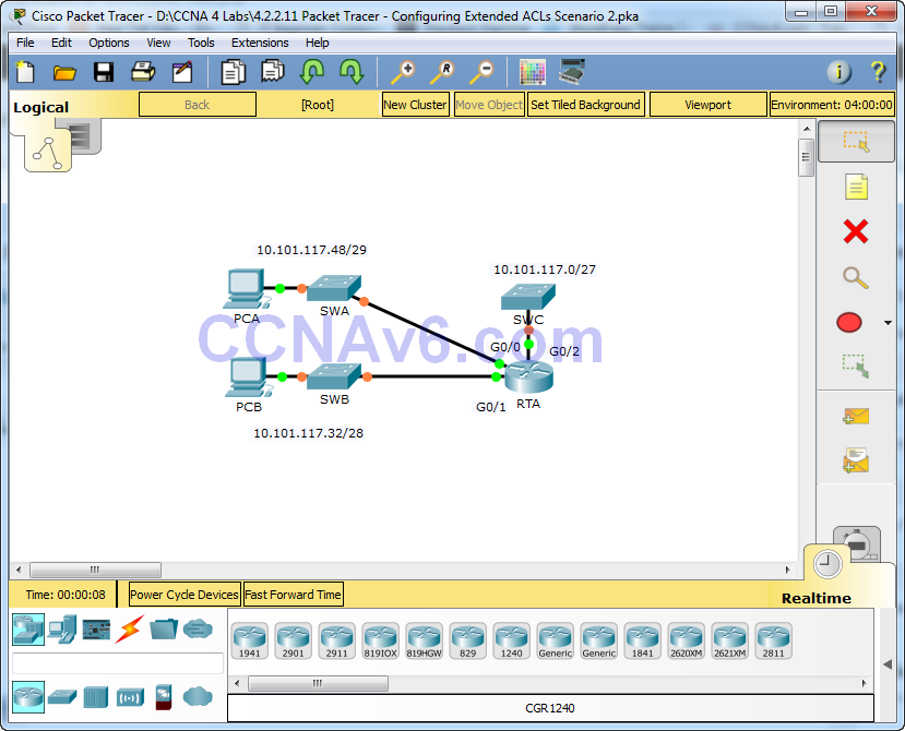 4.2.2.11 Packet Tracer - Configuring Extended ACLs Scenario 2 Answers 1