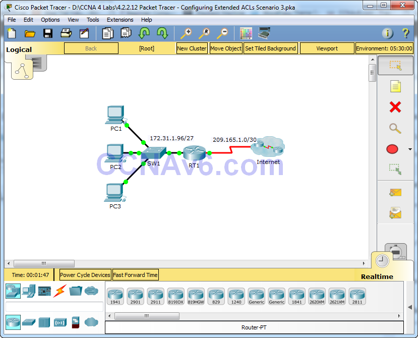 4.2.2.12 Packet Tracer - Configuring Extended ACLs Scenario 3 Answers 1