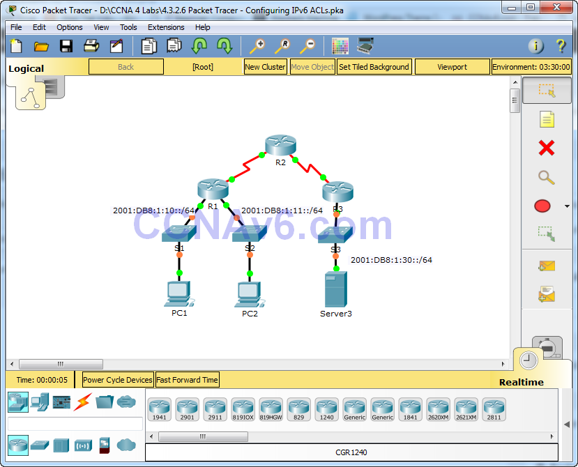 4.3.2.6 Packet Tracer - Configuring IPv6 ACLs Answers 37