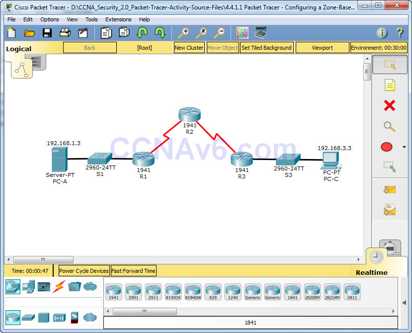 4 4 1 1 Packet Tracer - Configuring a Zone-Based Policy