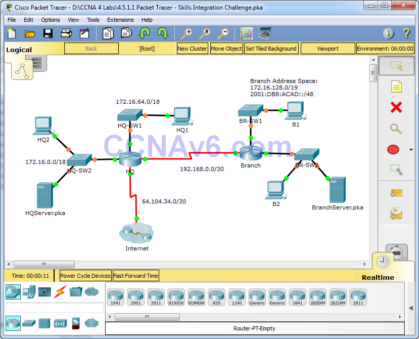4.5.1.1 Packet Tracer - Skills Integration Challenge Answers 26