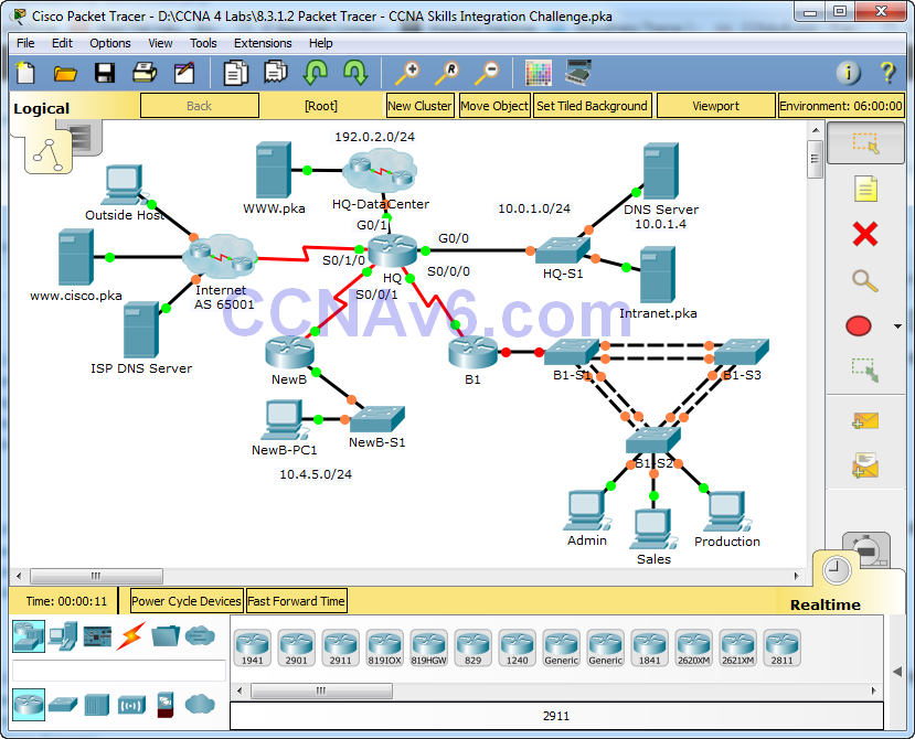 8.3.1.2 Packet Tracer - CCNA Skills Integration Challenge Instructions Answers 1