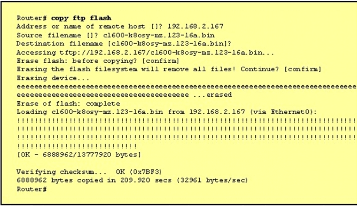 Why is flash memory erased prior to upgrading the IOS image from the TFTP server? 2