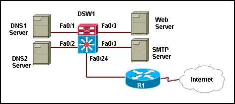 Refer to the exhibit. The DNS servers DNS1 and DNS2 are redundant copies so they need to communicate with each other and to the Internet. The SMTP server should not be reachable from the DNS Servers. Based on the partial configuration that is provided, what private VLANs design will be implemented? 2