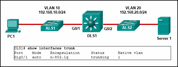 CCNA2 v7 Modules 1 - 4 Switching Concepts, VLANs, and InterVLAN Routing Exam Answers 38