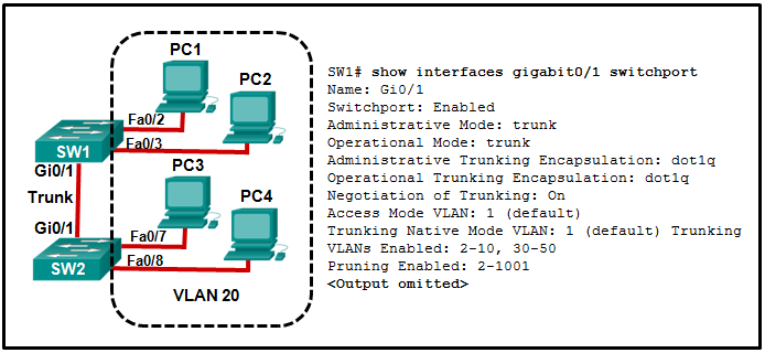 CCNA 2 v7 Modules 1 – 4: Switching Concepts, VLANs, and InterVLAN Routing Test Online 3