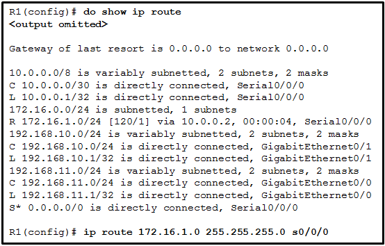 CCNA 2 v7 Modules 14 - 16: Routing Concepts and Configuration Exam Answers 16