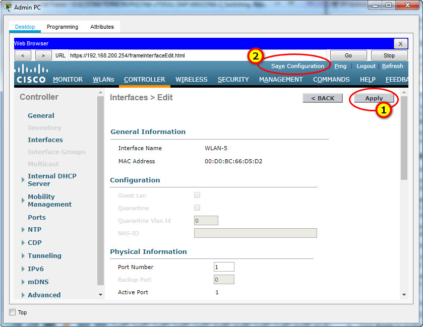 13.3.12 Packet Tracer – Configure a WPA2 Enterprise WLAN on the WLC – Instructions Answer 5