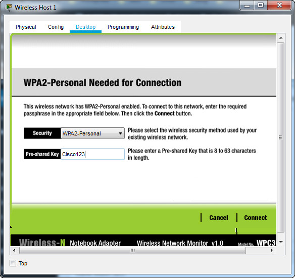 13.5.1 Packet Tracer – WLAN Configuration – Instructions Answer 40