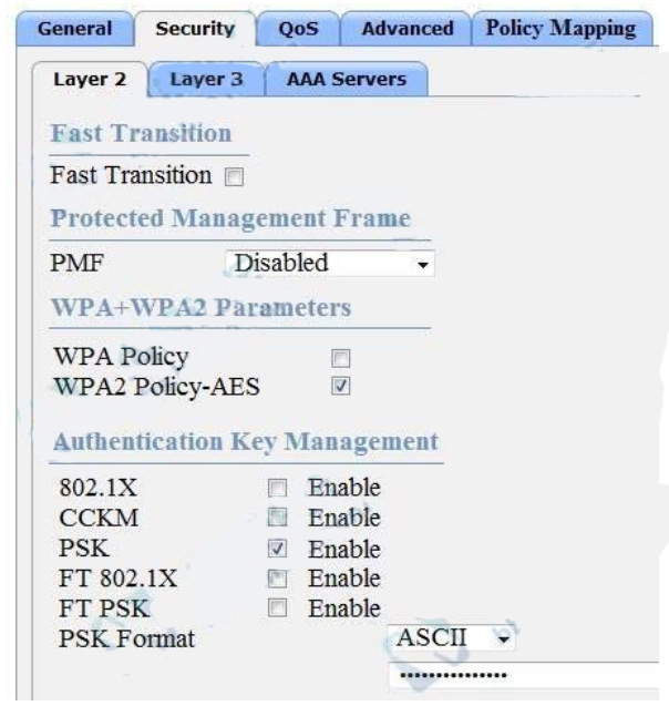 Refer to the exhibit.Based on the configuration in this WLAN security setting, which method can a client use to authenticate to the network? 2