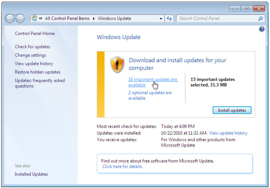 5.2.1.10 Lab - Check for Updates in Windows 7 and Vista (Answers) 10